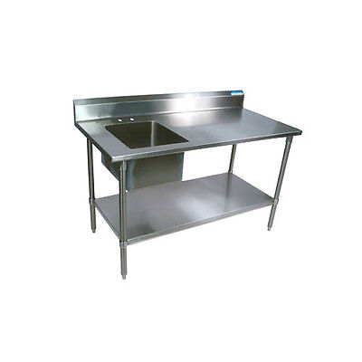 "BK Resources BKPT-3060G-L 60""Wx30""D Stainless Steel Prep Table w/ Left Side Sink"