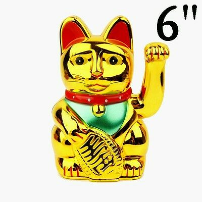 1 x Chinese lucky Waving Gold Cat Figure with Moving Arm in Colourful Box Feng