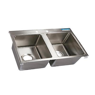 "BK Resources Two Compartment 45-5/16""x21"" Stainless Steel Drop-In Sink"