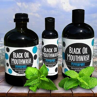 Black Oil Mouthwash for Oil Pulling w/ Xylitol & Charcoal, Sweet Peppermint