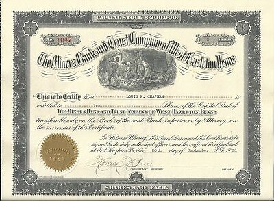 1931 Miners Bank and Trust Co. Stock Certificate - West Hazleton, PA