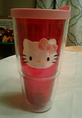 Tervis Hello Kitty Thermal Pink Red Tumbler Cup Cartoon character Cat Bow Patch