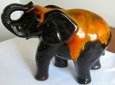 Collectable-Vintage-Retro-Ceramic Black Orange Elephant Figural Ornament  (479)