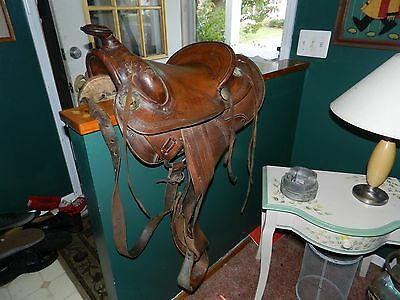 Vintage Leather Western Horse Saddle Complete Good Condition NR
