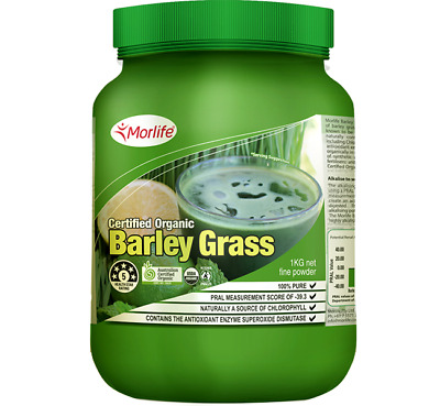Certified Organic Barley Grass Powder 1 Kg - Morlife Barley Grass -