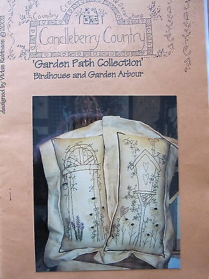 """"""" Birdhouse & Garden Arbour """" Stitchery Pattern by Candleberry Country"""