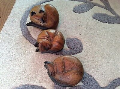 Wood Handcrafted Cats Three In Total,sleeping