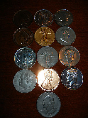 Vtg Lot of 13 Large Giant Novelty Metal US Coins Medallions Liberty Indian Head