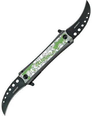 Z-Hunter Folding Pocket Knife New Twin Blade Silver Skull A/O ZB-057SK
