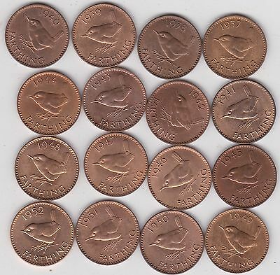 Set Of 16 George Vi Wren Farthings 1937 To 1952 In Near Mint Condition