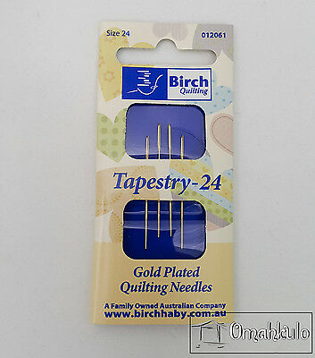 BIRCH Tapestry Needles - Gold Plated - Size 24 - 4 Pack -