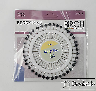 BIRCH Berry Sewing Pins - Black - 40 Pack -