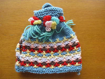 New Vintage Hand Knitted Multi-Colour Tea Cosy With Flowers Blue Yellow Red Pink