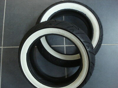 One Pair of  - Continental Twist White Wall Tyres 120 + 130 / 70 * 12 Vespa GTS