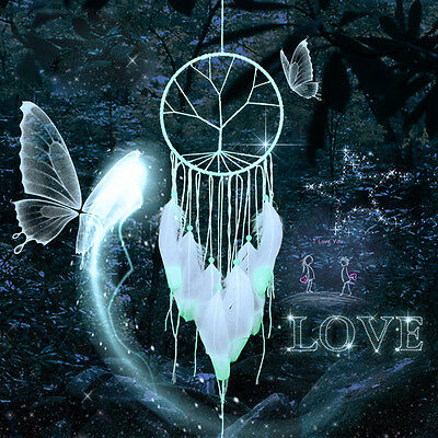 Glow in Dark Dream Catcher with White Feather Wall Hanging Decoration Ornament