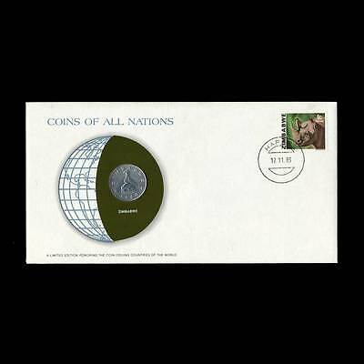 Zimbabwe 20 Cents 1980 Fdc Unc ─ Coins Of All Nations Uncirculated Stamp Cover