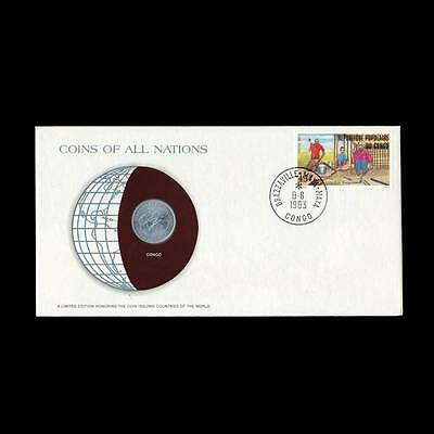 Congo 1 Francs 1976 Fdc Unc ─ Coins Of All Nations Uncirculated 1983 Stamp Cover