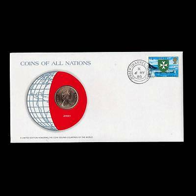 Jersey 2 Pence Two 1973 Fdc Unc ─ Coins Of All Nations Uncirculated Stamp Cover