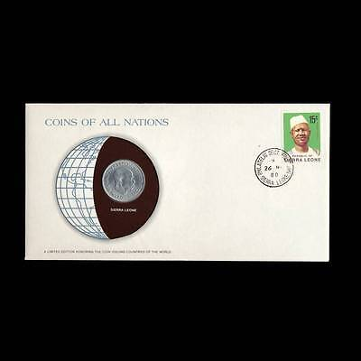 Sierra Leone 20 Cents 1964 Fdc Unc Coins Of All Nations Uncirculated Stamp Cover
