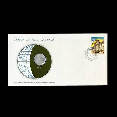Bolivia 25 Centavos 1972 Fdc Unc ─ Coins Of All Nations Uncirculated Stamp Cover