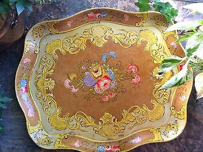 French Country Vintage Hand Painted Paper Mache Toleware Tole Tray LARGE