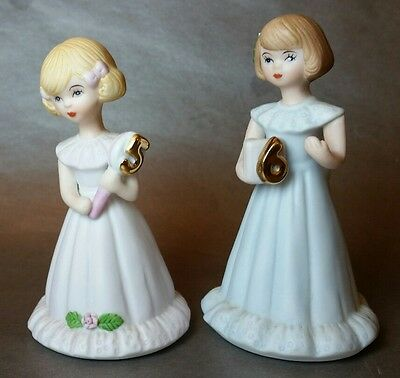 Lot of 2 - Enesco Growing Up Birthday Girls- Ages 5 and  6