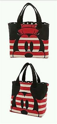 Disney Store Mickey Minnie Mouse Large Canvas Tote Bag Stripes Polka Dots NWT