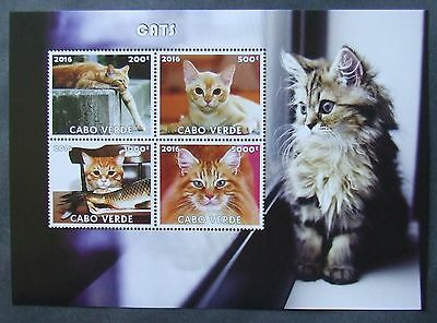 Cape Verde Isl. 2016 - Cats, 1 M/Sh, not perforated, MNH, PP 1230