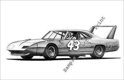 Great drawing Richard Petty #43 Plymouth Superbird 11 x 17 picture print  NASCAR