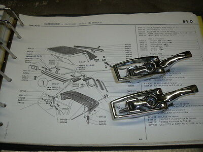 Peugeot 204 304 Cabriolet  Attaches Capote Chromees Neuves - Nos
