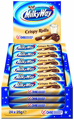MILKY WAY CRISPY ROLL CHOCOLATE BARS: FULL BOX - 24 x 25g BARS