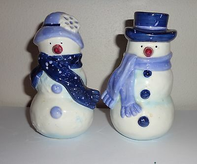 Mr. and Mrs. Snowmen in Blue Salt and Pepper Shakers