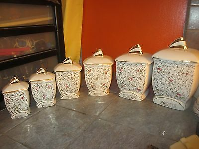Vintage FRENCH Canister SET with 6 Jars   CAFE Sucre FARINE Epices POIVRE The