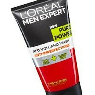 3 x L'Oreal Men Expert PURE POWER Red Volcano Face Wash ANTI-IMPERFECTIONS 150ml