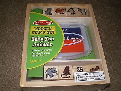 Melissa & Doug Baby Zoo Animal Stamp Set – Wooden Stamps and Ink Pad