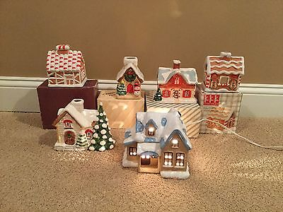 6 Ceramic Houses Including Candy Cane House, Frosty, Gingerbread, 1w/ Light