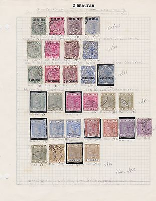 GIBRALTAR QV 1886-96 album page cv£350 used & mounted mint