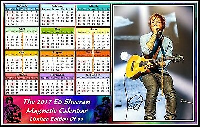 The 2017, Ed Sheeran, Autographed MAGNETIC CALENDAR. Limited Edition (ES-M4)