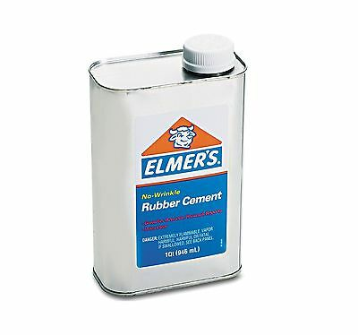 Elmer's Rubber Cement Repositionable 1 qt Easily Dries Clear - New Item