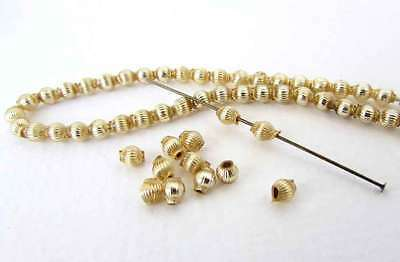 Vintage Gold Mercury Glass Beads Corrugated Grooved Rounds 3.5mm