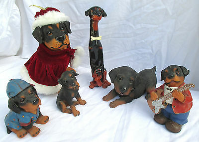 Rottweiler Figurines Vintage Dogs Lot Six Christmas, Clothing, Music, Bank