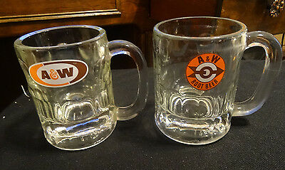 """2  Vintage A & W Glass Root Beer Small Mugs - Thumbprint  4 1/4"""" Tall"""