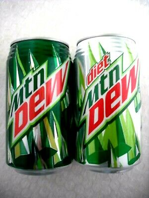2 FULL MTN MOUNTAIN DEW and DIET RIBBED NECK FROM HAWAII 12 oz Cans