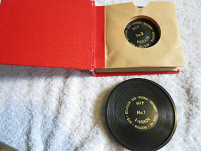 Vintage Retro Hit Parade Record 6 X Cocktail Coasters In Record Wallet Sleeve