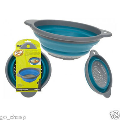 New! Folding Colander With Hanging Loop Blue Space Saving Modern Kitchen
