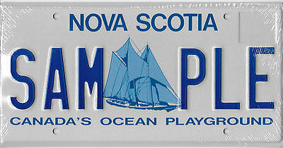 Nova Scotia Canada Bluenose Schooner Sample License Plate Mint Sam-Ple Reduced