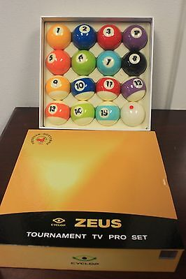 New CYCLOP Billiard Pool ZEUS TV Pro Ball set  + FREE BALL CLEANER