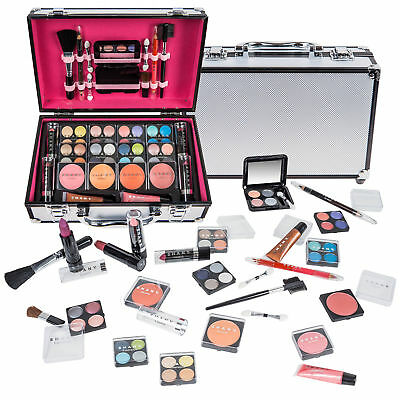 SHANY Carry All Makeup Train Case with Pro Makeup, Reusable Aluminum Case Silver