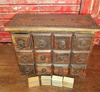 Antique Primitive 12 Drawer Wood Pharmacy Medical Apothecary Cabinet+4 Cures