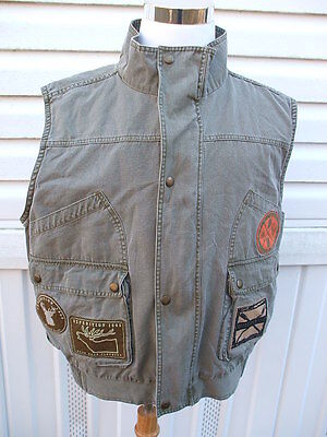 Duck Head Expedition 1865  Men's Large Green Stone Washed Hunting Vest